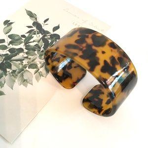 Leopard Print Tortoiseshell Resin Cuff Bracelet